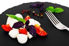Caprese salad of tomatoes, basil, mozzarella, pepper. Studio Photo Royalty Free Stock Images