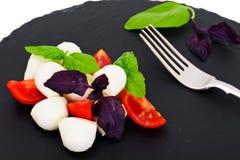 Caprese salad of tomatoes, basil, mozzarella, pepper. Studio Photo Stock Image