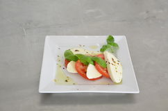Caprese salad with tomatoes, basil and mozzarella on the table of stainless steel Stock Photography