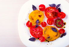Caprese salad with tomatoes, mozzarella and basil. Stock Images