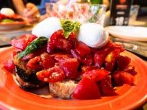 The caprese, is salad tomatoes, mozzarella, basil stock photos
