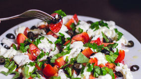 Caprese salad. On white plate Royalty Free Stock Photos