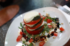Caprese salad on a white plate Stock Photography