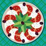 Caprese Salat auf Platte Lizenzfreies Stockfoto