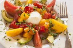 Caprese-Salat mit Käse, Tomate und Avocado Stockbild