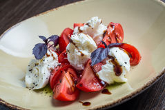 Caprese-Salat - mit Tomaten, Mozzarella-Käse Lizenzfreies Stockfoto