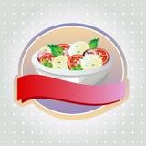 Caprese-Salataufkleber Stockfotos