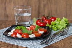 Caprese sallad med körsbärsröda tomater Arkivfoto
