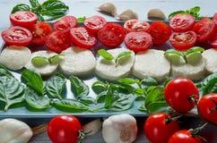 Caprese sallad på den gråa plattan dekorerade med organiska ingredienser: skivad mozzarellaost, körsbärsröda tomater, nya basilik fotografering för bildbyråer
