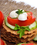 Caprese sandwiches of mozzarella cheese, tomatoes, cucumber and Royalty Free Stock Photo