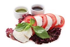 Caprese weißer Hintergrund des Salats Stockfotografie