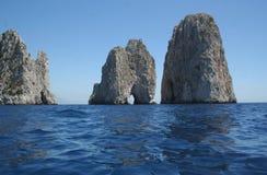 Capri意大利Faraglioni 库存图片