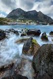 capri海岛意大利海景视图 免版税图库摄影