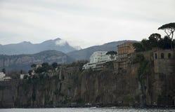 capri海岛意大利风景视图 免版税库存照片