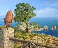 capri海岛monte solaro 向量例证