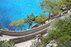 Capri ö, via Krupp, Italien Royaltyfri Fotografi