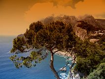 Capri. The island Capri and mediterranean sea Stock Photos