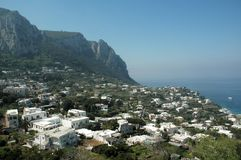 Capri. View of Italian Estates and Yachts on Coast of Capri royalty free stock images