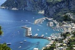 Capri. An aerial view of the port of Capri Stock Image