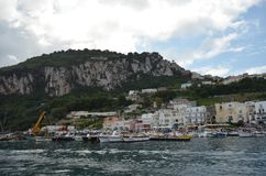 Capri, Anacapri, sky, sea, coast, water. Capri, Anacapri is sky, water and loch. That marvel has sea, harbor and coastal and oceanic landforms and that beauty stock image