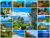 Capri, beautiful and famous island in the Mediterranean Sea Coast, Naples. Italy. Collage Stock Images