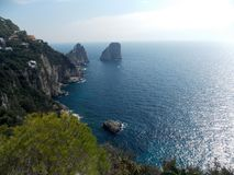 Capri blue excusive sea view. What is Carpi Blue for you? Maybe RAL 5019? Now for me it's the color of beautiful sea near Capri Island, Italy stock photo