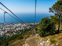 Capri Chairlift, Monte Solaro. Amazing view from the chairlift on Monte Solaro on the island of Capri, Italy Royalty Free Stock Photo