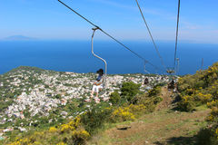 Capri chairlift to Mount Solaro Royalty Free Stock Images