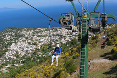 Capri chairlift to Mount Solaro Royalty Free Stock Photos