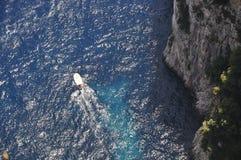 Capri cliff view. View down to the mediterranean from Tiberius' Villa Jovis, Capri stock image