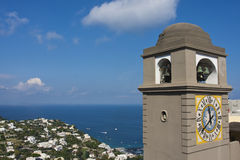 Capri clock. And the Mediterranean Sea Stock Photos