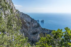 Capri, the Faraglioni. The Island of Capri and the little rocks in the sea called Faraglioni stock images
