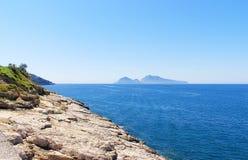 Capri Faraglioni Rocks. View of Capri from Sorrento Coast Royalty Free Stock Photos