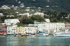 Capri harbour. Capri island harbour's lifestyle (part of Campania).Bay of Naples in southern Italy, a tourist attraction noted for its beautiful scenery stock image