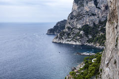 Capri. The high coast of the island of Capri on the slope of Marina Piccola Stock Image
