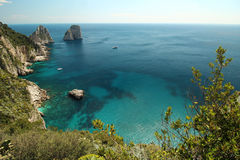 Capri, hill view  Italy. Sea view from hill in Capri. Classic mediterranean arhitecture and vegetation Stock Images