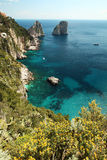 Capri, hill view  Italy. Sea view from hill in Capri. Classic mediterranean arhitecture and vegetation Stock Photo