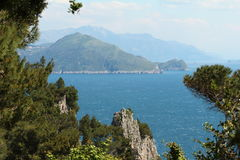 Capri, hill view  Italy. View from the village on Capri island. Classic mediterranean arhitecture and vegetation Royalty Free Stock Photos