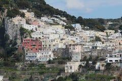 Capri, hill view  Italy. View of village on Capri island. Classic mediterranean arhitecture and vegetation Stock Image
