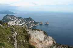 Capri, hill view  Italy. View from the village on Capri island. Classic mediterranean arhitecture and vegetation. Shot taken from monte solaro Stock Photo