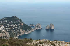 Capri, hill view  Italy. View from the village on Capri island. Classic mediterranean arhitecture and vegetation. Shot taken from monte solaro Stock Photos