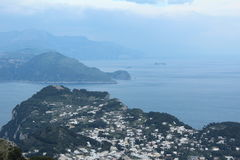 Capri, hill view  Italy. View of the village on Capri island. Classic mediterranean arhitecture and vegetation. Shot taken from monte solaro Stock Images