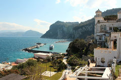Capri, hill view  Italy. View from the village on Capri island. Classic mediterranean arhitecture and vegetation. Shot taken from monte solaro Stock Image