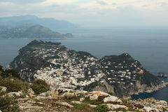 Capri, hill view  Italy. View of the village on Capri island. Classic mediterranean arhitecture and vegetation. Shot taken from monte solaro Royalty Free Stock Photo
