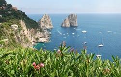 Capri island. And famous Faraglioni stock photos