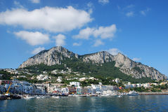 Capri island. Nice view fron the sea of Capri island, Italy stock photography