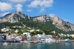 Capri island. Nice view fron the sea of Capri island, Italy royalty free stock photo