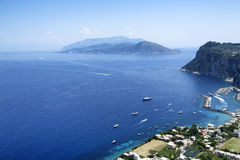 Capri island. The island of Capri and the Bay of Naples seen from above Royalty Free Stock Photo
