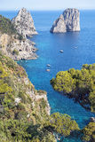 Capri island, Campania region, Italy. Amazing Faraglioni cliffs panorama with the Tyrrhenian sea in background, Capri island, Campania region, Italy stock photos
