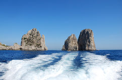 Capri island, famous Faraglioni royalty free stock photo